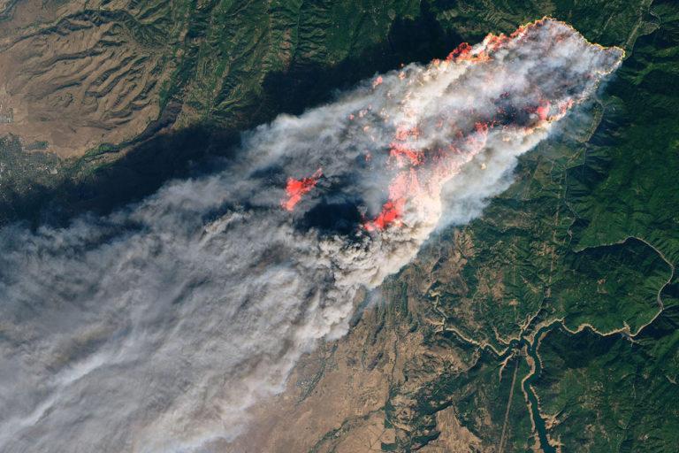 An image of California's Camp Fire on November 8, 2018 from NASA's Landsat 8 satellite. Photo credit: USGS/NASA/Joshua Stevens