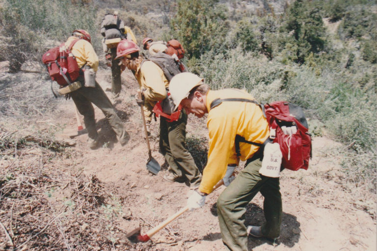 Bruce Babbitt working the Bunniger Fire in Colorado in 1994.