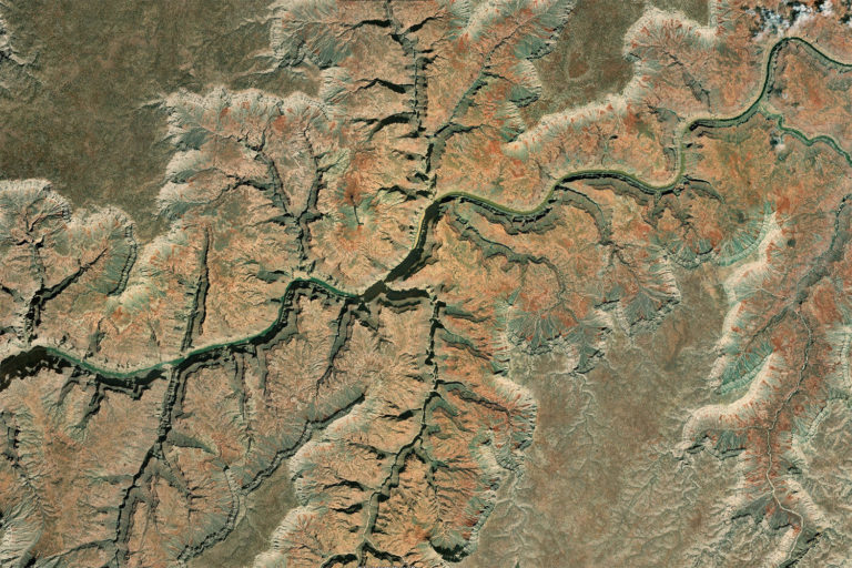 The Colorado River as it flows through a portion of the Grand Canyon. Photo courtesy of Zoom.Earth.