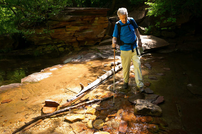 Bruce Babbitt hiking across the West Fork of Oak Creek Canyon, in the Red Rock-Secret Mountain Wilderness within the Coconino National Forest, near Sedona, on May 31, 2019. Photo @copy; David Wallace/The Republic