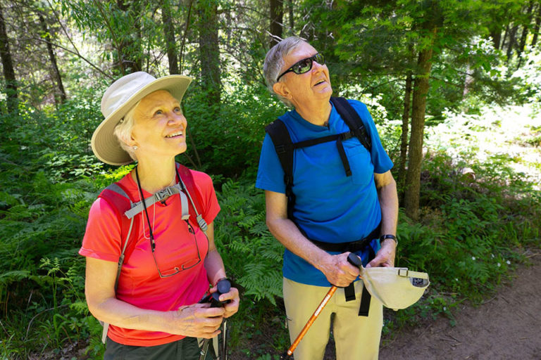 Hattie Babbitt and Bruce Babbitt on a hike along the West Fork of Oak Creek Canyon, Arizona, on May 31, 2019. Photo @copy; David Wallace/The Republic