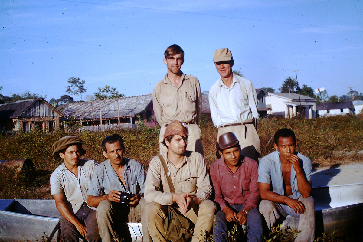 Sir Ghillean Prance, standing on the left, during field work in the Amazon.