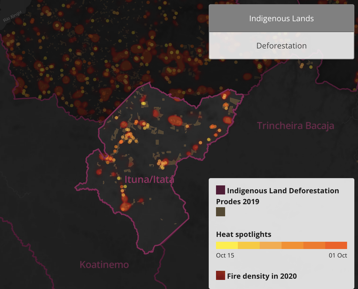 Map shows fore hotspots in the Ituna-Itatá Indigenous Territory home to uncontacted Indigenous people. The image is a screenshot from an interactive map created by InfoAmazonia.