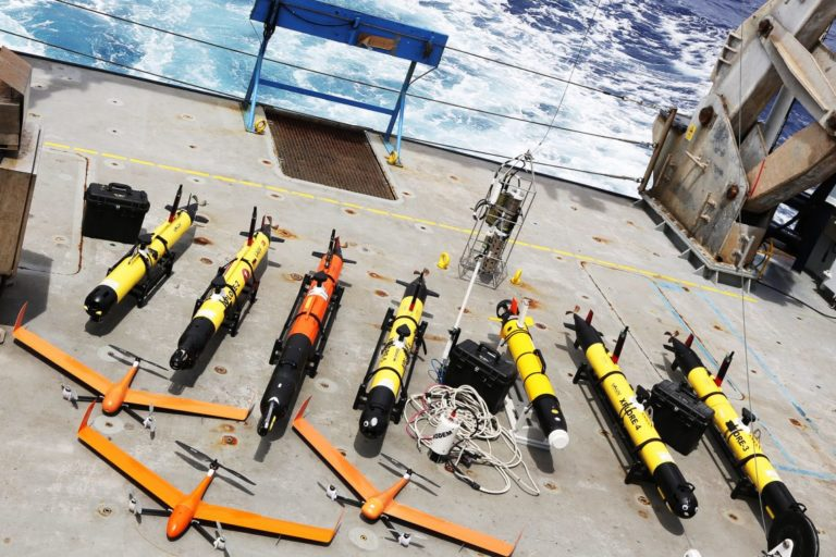 Various underwater robots and drones aboard the Falkor. Photo courtesy of the Schmidt Ocean Institute.