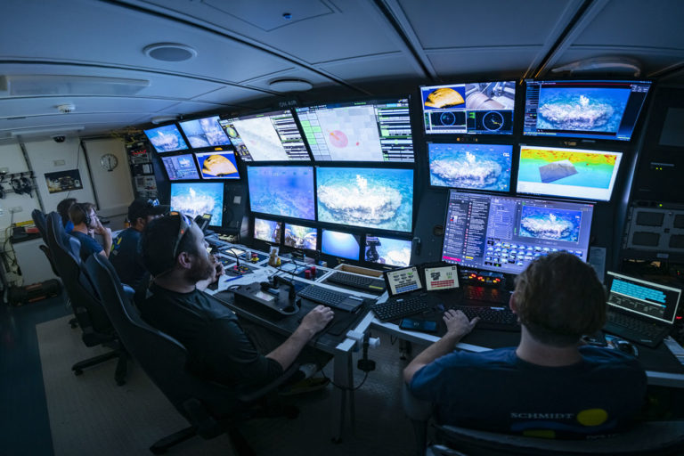 Dive control center on the Falkor. Photo credit: Schmidt Ocean Institute