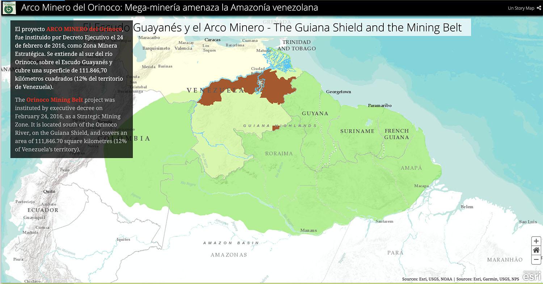 Gold mining in Venezuela. Presented on Esri's ARCGIS story map platform.