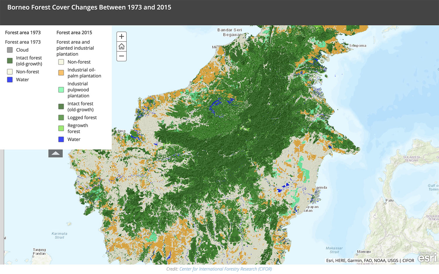 TNC's map showing forest loss in Borneo. Presented on Esri's ARCGIS story map platform.