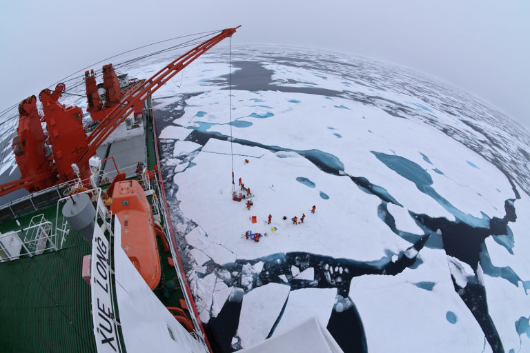 Drift ice camp in the middle of the Arctic Ocean as seen from the deck of icebreaker Xue Long. Photo @copy; Timo Palo.