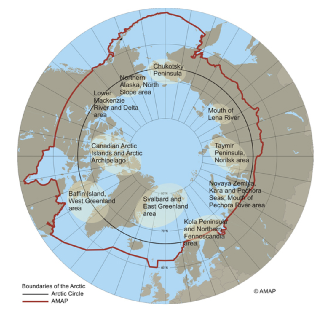 The Arctic Animal Movement Archive includes data from the marine and terrestrial Arctic areas defined by the Arctic Monitoring and Assessment Programme map (outlined in red). AAMA also includes the and subarctic land regions represented as 'boreal forests/taiga' as classified by the Nature Conservancy (not shown). Map courtesy of AMAP 1998