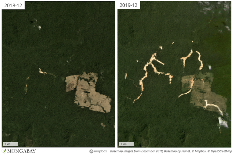Satellite imagery shows this mine expanded in 2019 Apyterewa Indigenous Territory after Jair Bolsonaro took office as president in January.