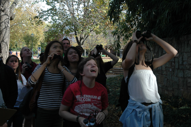 A community bird walk on the campus of the University of Virginia. Image courtesy of Tim Beatley.
