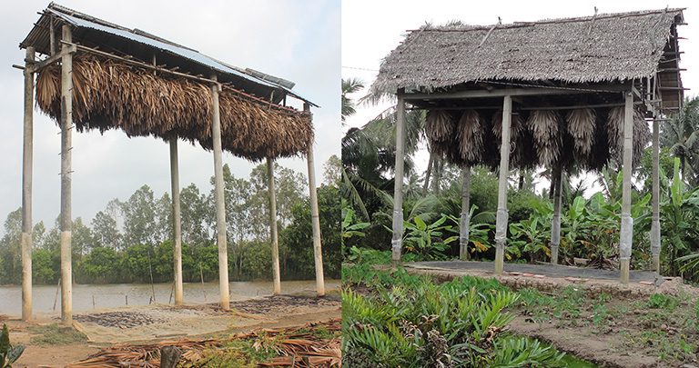 Examples of the man-made roosts used as guano farms in Soc Trang, Vietnam. Photo credit: WCS/Viet Nam (Huong, et al, 2020)