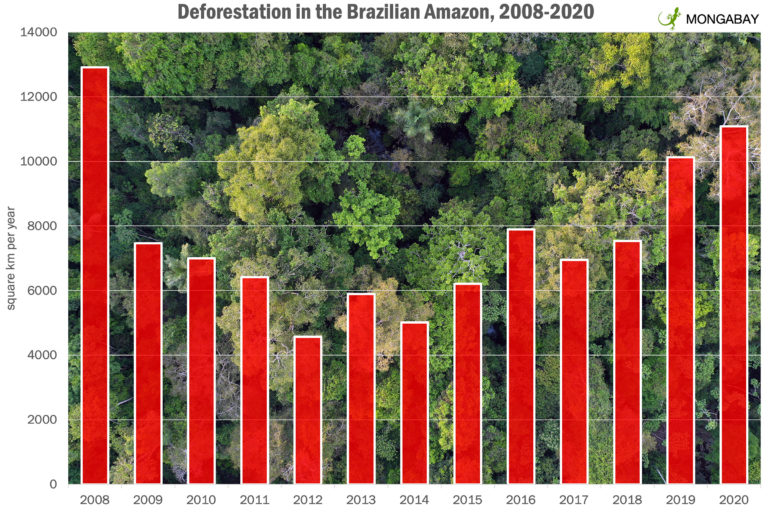 Annual deforestation in the Brazilian Amazon from 2008-2020 according to INPE