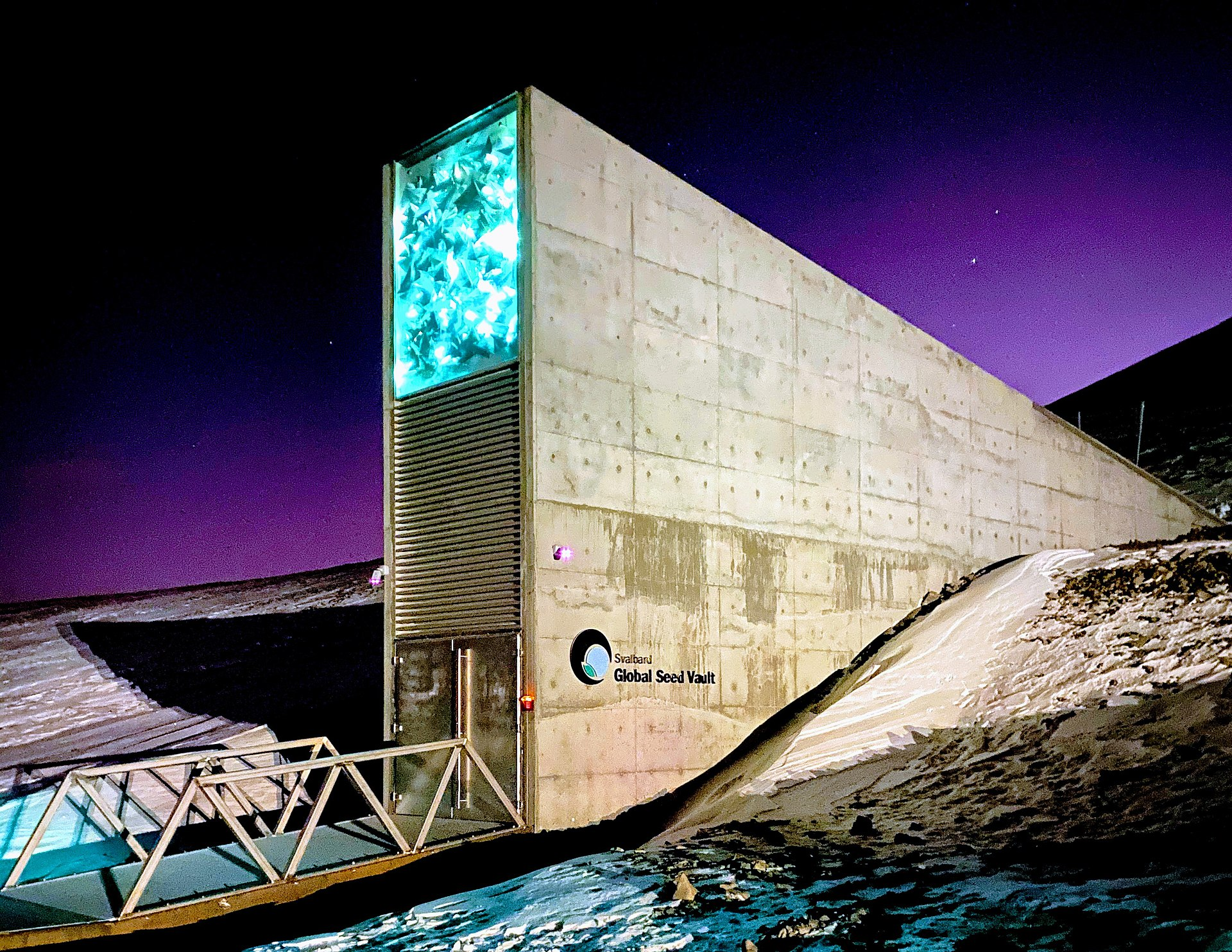 The entrance to the Svalbard Global Seed Vault in Svalbard, Norway, a remote archipelago in the Arctic Ocean. Photo by Subiet via Wikimedia Commons (CC BY-SA 4.0).