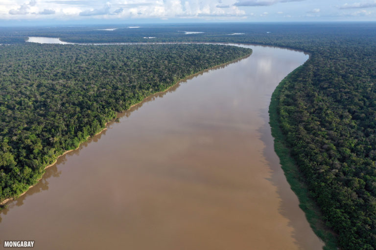 Javari river where it forms the border between Peru (left) and Brazil (right).
