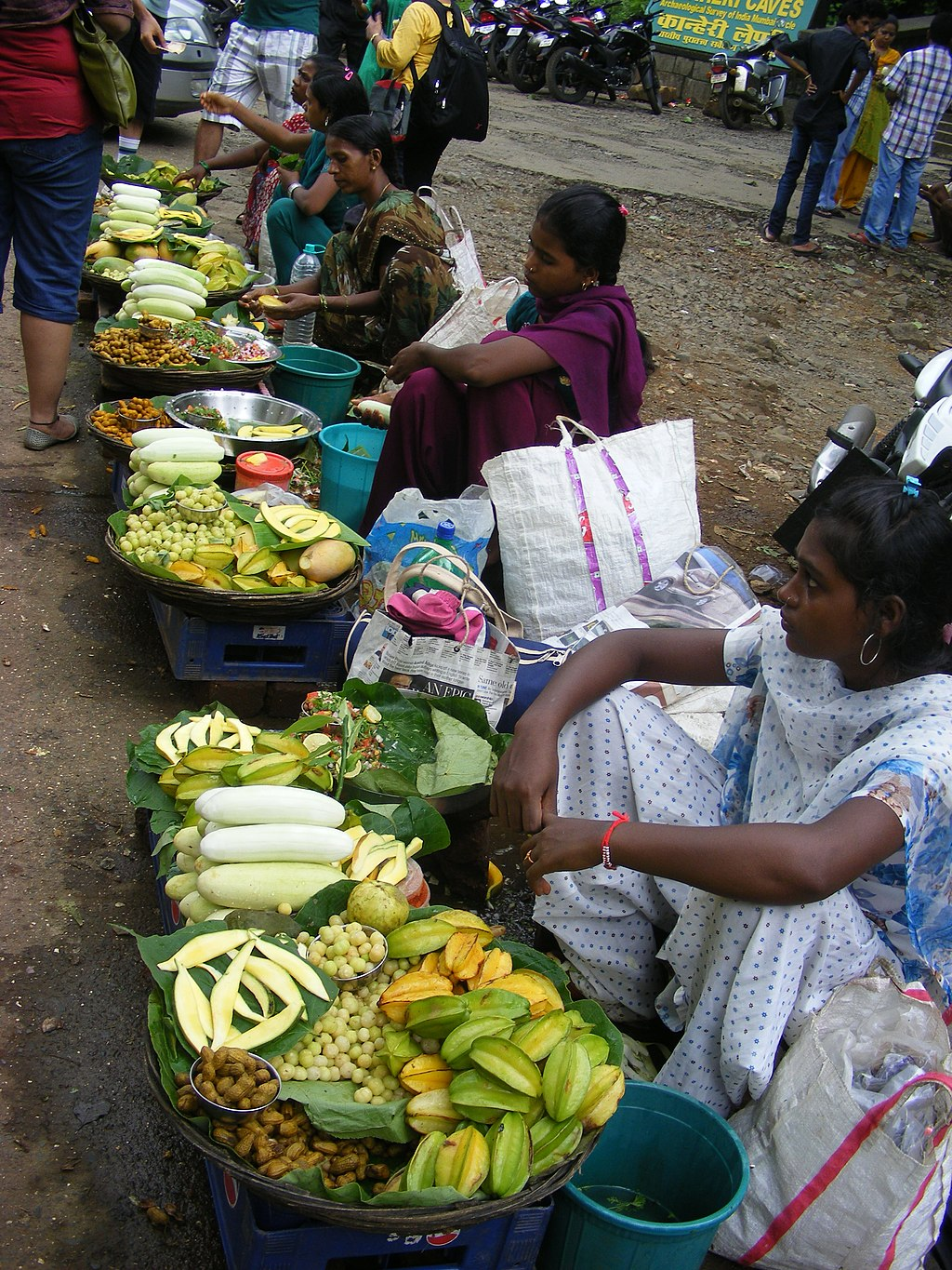 women selling wild Fruits, Non-timber Forest Produce in SGNP Mumbai Maharashtra by Raju Kasambe via Wikimedia Commons (CC BY SA 4.0