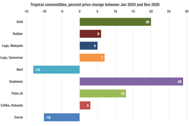 Price change between Jan and Dec 2020 for commodities that drive deforestation in the tropics. Data from the World Bank.