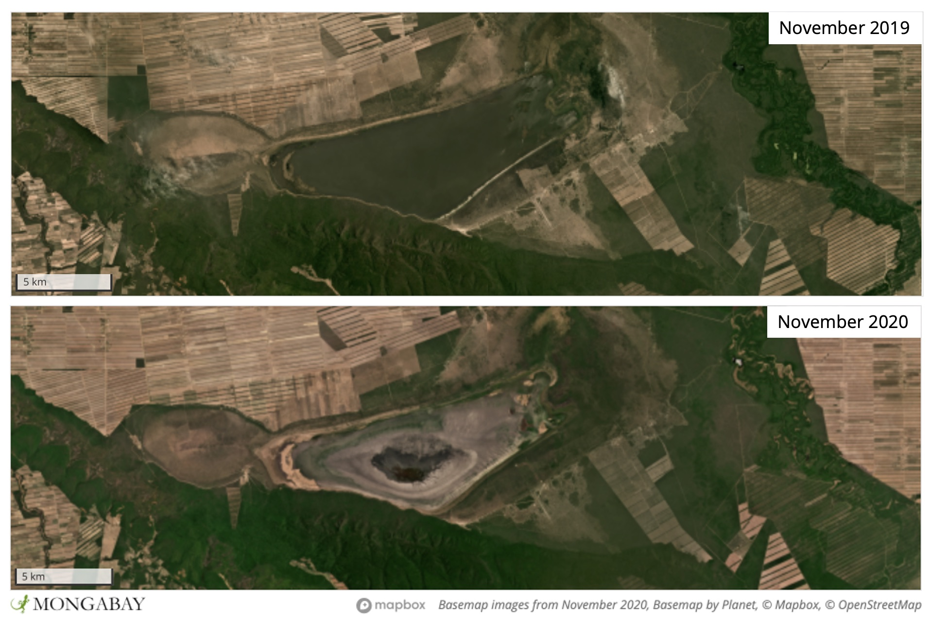 Satellite imagery from Planet Labs Inc show water levels have dropped substantially over the past year.