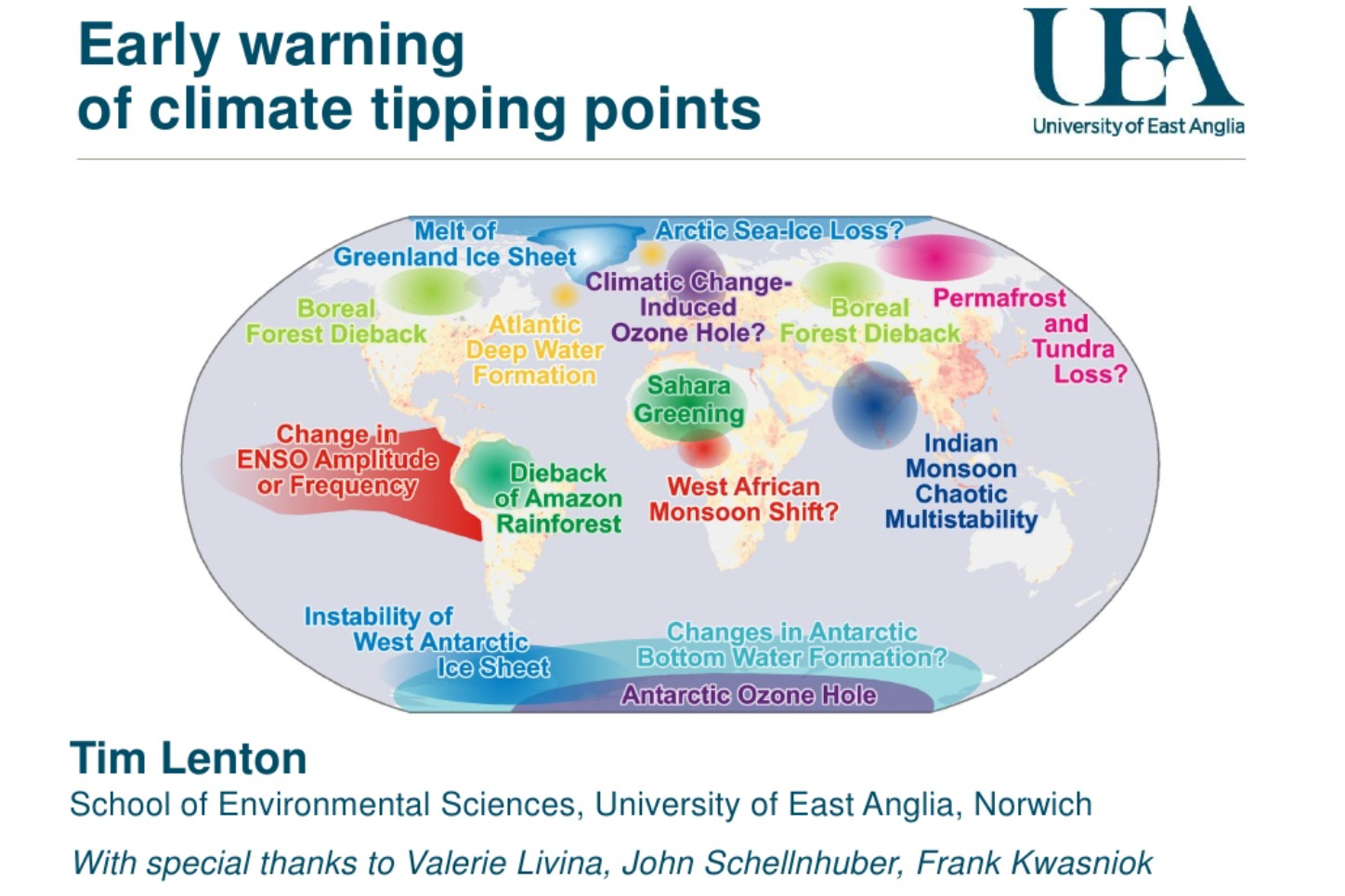 Map of potential policy-relevant tipping elements in the climate system in Lenton et al (2008)'s original paper. These have since been updated to include coral reefs.