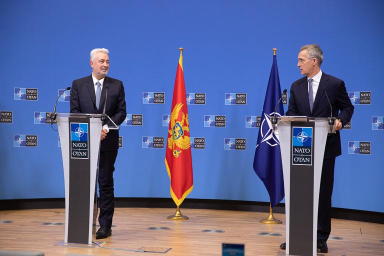 Montenegrin Prime Minister Zdravko Krivokapić (left) and NATO Secretary-General Jens Stoltenberg speak to the press on Dec. 15, 2020, at NATO headquarters in Brussels, Belgium. Image courtesy of NATO.