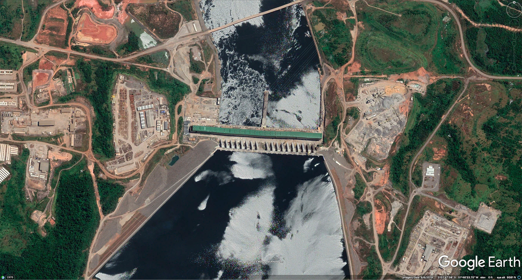Google Earth image of the Belo Monte dam in 2019.