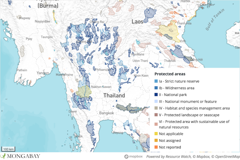 Thailand has a much more extensive network of protected areas than Myanmar, but much of the intact forest in the cross-border Dawna Tenasserim Landscape lies on the Myanmar side.