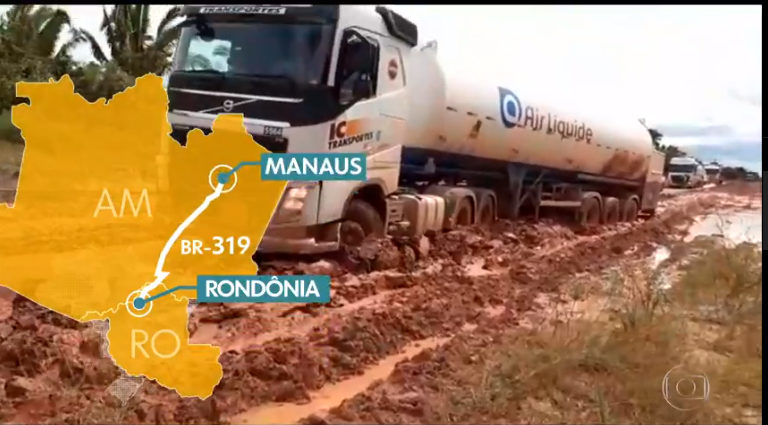 Trucks bringing oxygen to Manaus via Highway BR-319. Source: Rede Globo.
