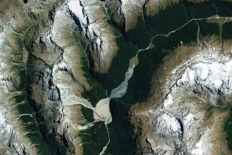 Satellite image of Mount Aspiring National Park, New Zealand in February 2021. Photo credit: Maxar Technologies and Planet.