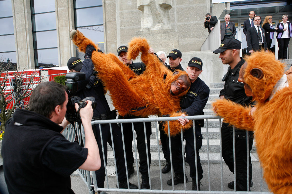 """Greenpeace activists dressed as orangutans protest in front of the building of the Nestlé annual shareholders meeting. They hold signs, written """"Nestlé, give us a break"""", a campaign that targeted the food giant for its palm oil sourcing policy. That activism ultimately pushed Nestlé to adopt a zero deforestation policy, which became a model for the industry. © Greenpeace / Ex-Press / Tanja XX Demarmels"""