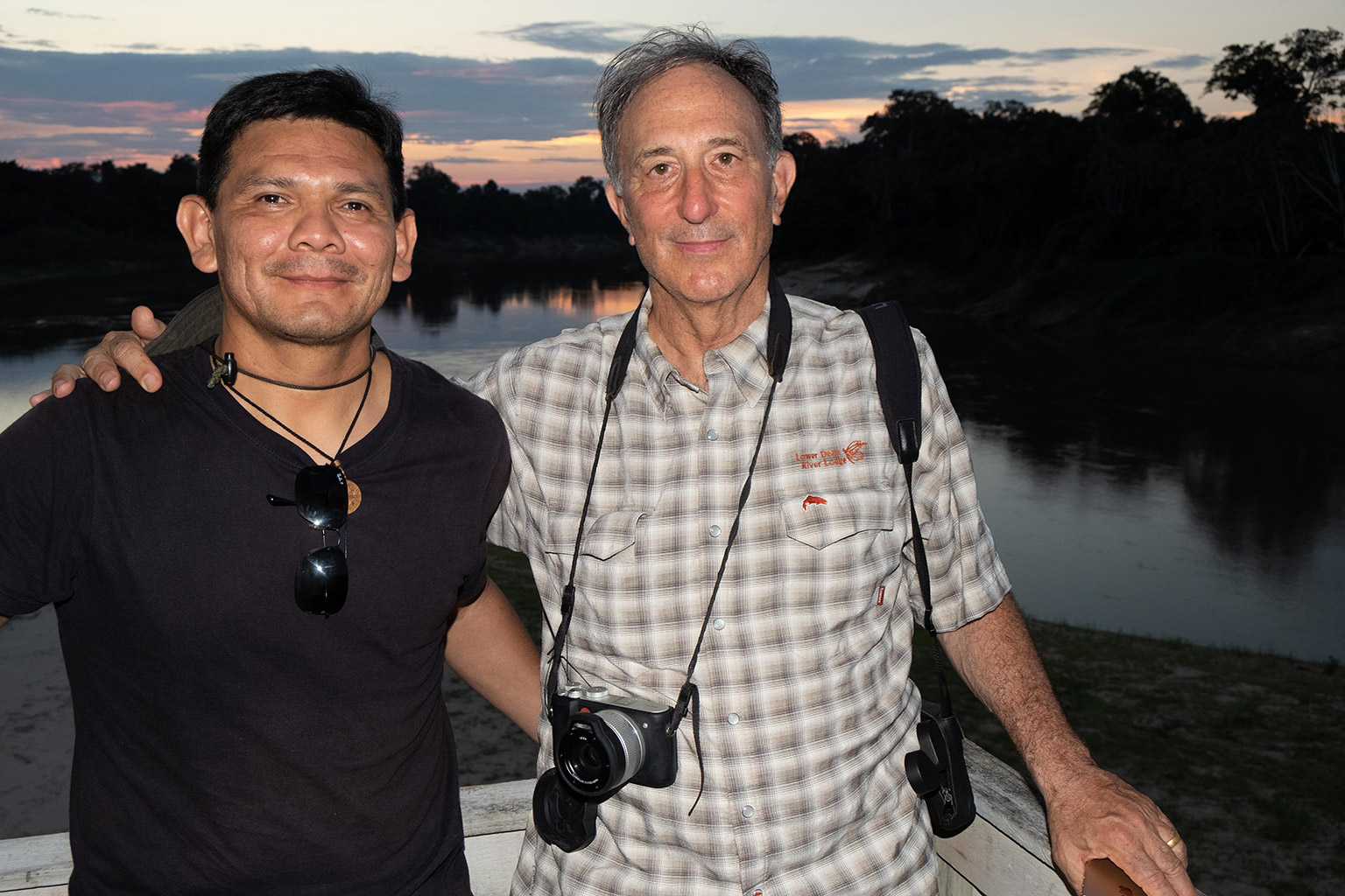 Peter Seligmann with Indigenous leader Beto Marubo in the Javari Valley Indigenous Territory. Photo credit: John Reid
