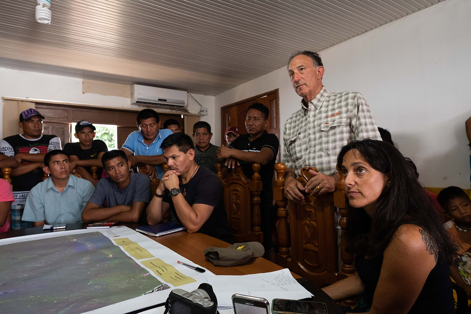 Peter Seligmann listening at a meeting of Indigenous leaders from the Javari Valley in Brazil. Photo credit: John Reid