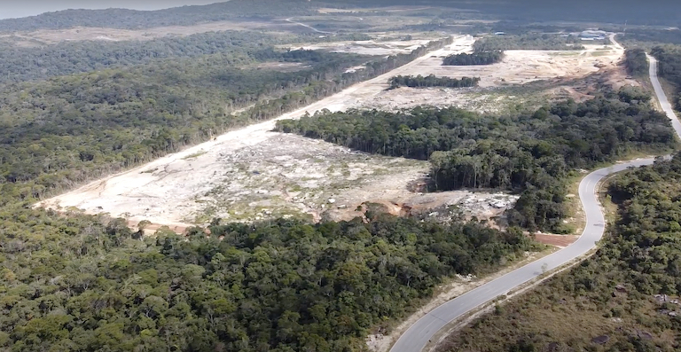 Drone image of alleged clearing for luxury residential estates in Bokor National Park. Image courtesy of Mother Nature Cambodia.