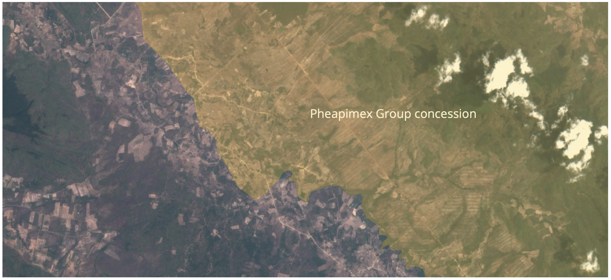 Deforestation appears to spill out of the Pheapimex Group concession near Phnom Samkos Wildlife Sanctuary.