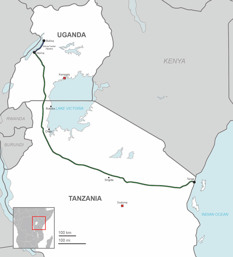 A proposed route for the East African Crude Oil Pipeline from 2016. Image by Sputink via Wikimedia Commons (CC BY-SA 4.0).