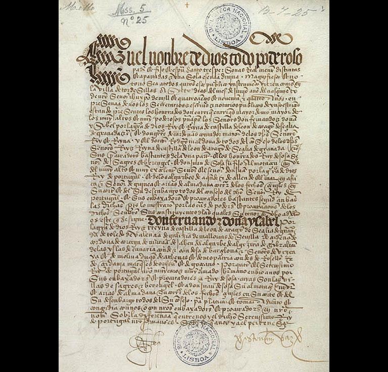 Treaty of Tordesillas at the Biblioteca Nacional de Lisboa. Photo credit: Wikiepdia user Joserebelo