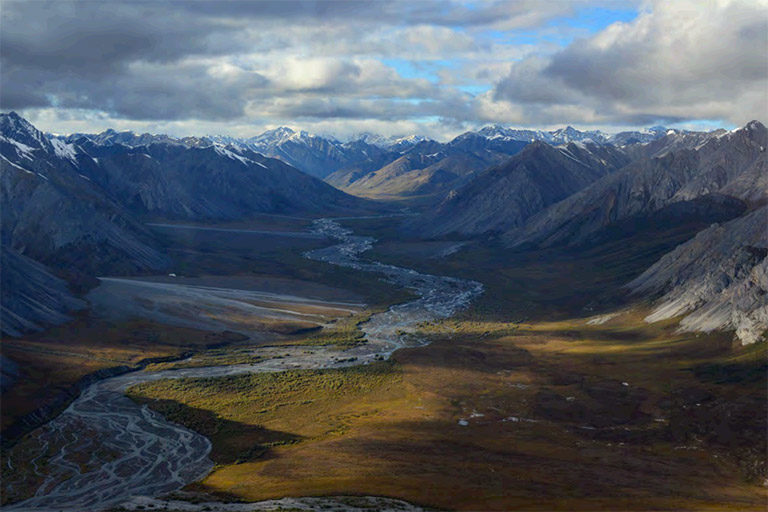 A view of the Brooks Range Mountains in the Arctic Refuge Wilderness. Photo credit: USFWS