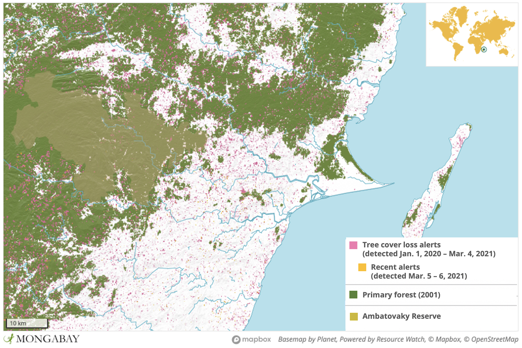 Satellite data from the University of Maryland show Ambatovaky experienced a surge in deforestation in 2020.