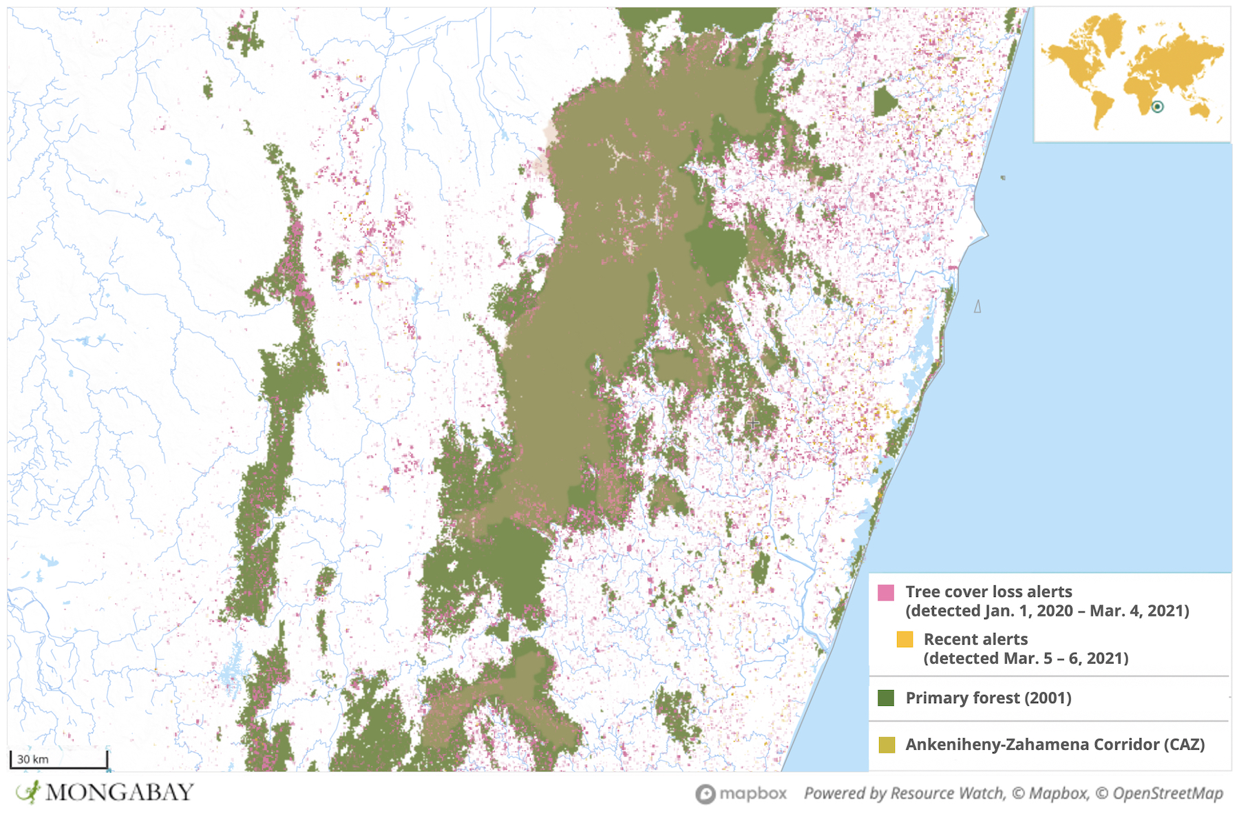 Satellite data from the University of Maryland show CAZ experienced a surge in deforestation in 2020.