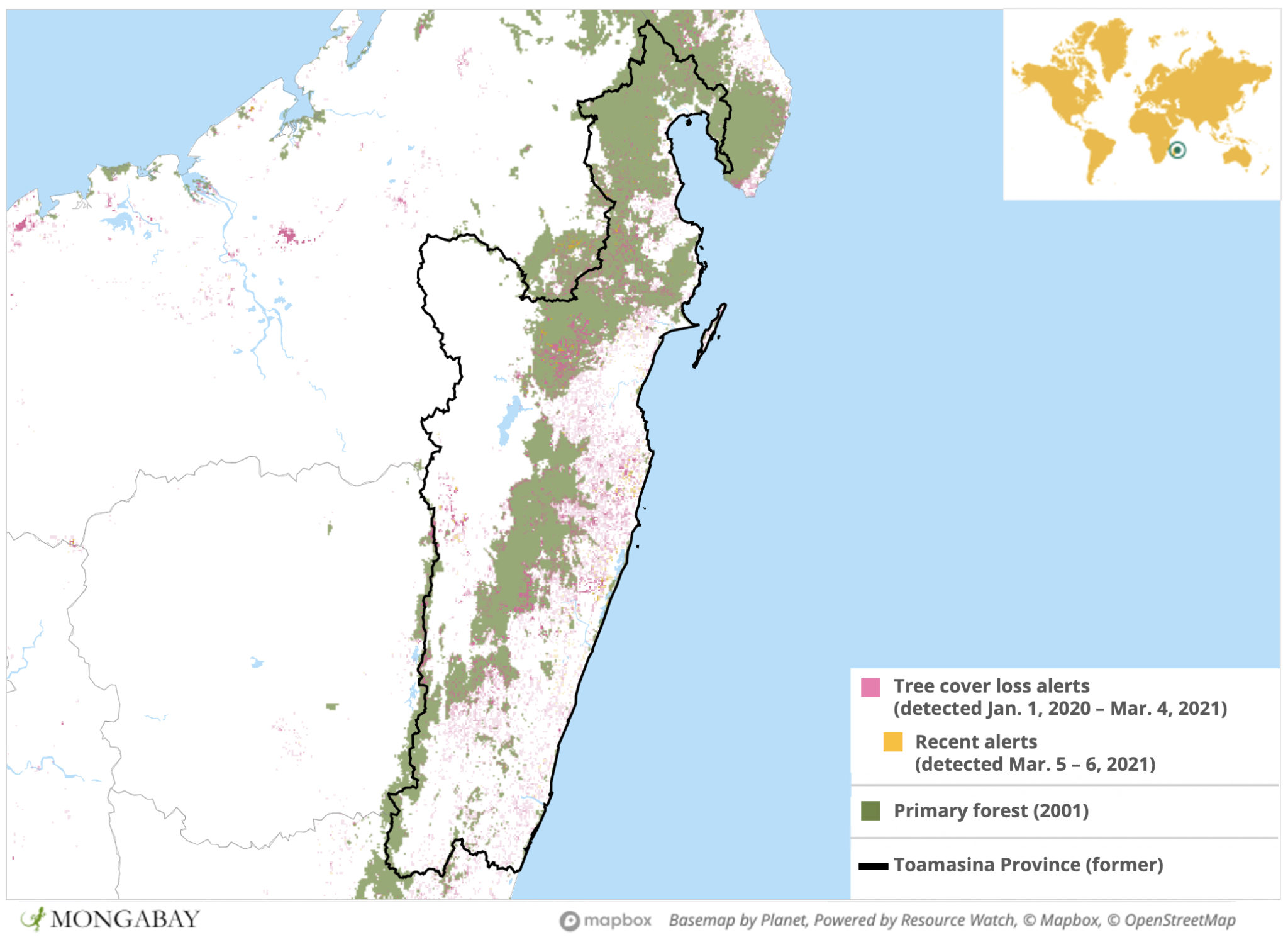 Satellite data show the area comprising the former province of Toamasina experienced a surge in deforestation in 2020.