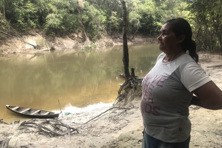 Nazaré Coutinho Pereira, a resident of the Tembé Indigenous Reserve looks over the Acará-Mirim river. Image by Karla Mendes.