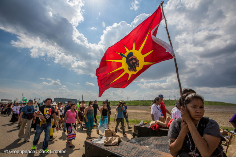 First Nations peoples, tar sands community members and environmental advocates during a protest walk in Alberta, Canada. Photo © Greenpeace / Zack Embree