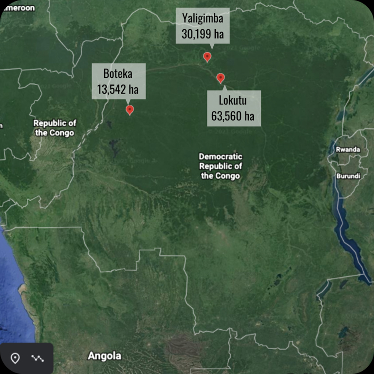 A map shows the locations of the three oil palm plantations in the Democratic Republic of Congo. Image courtesy of the Oakland Institute.