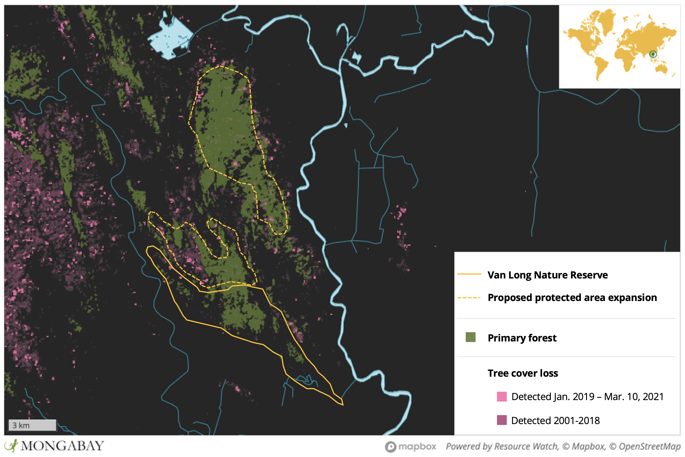 Satellite data from the University of Maryland show negligible forest loss in Van Long over the past 20 years. However, areas to the north that Nadler and other conservationists would like to see protected have experienced recent incursions.