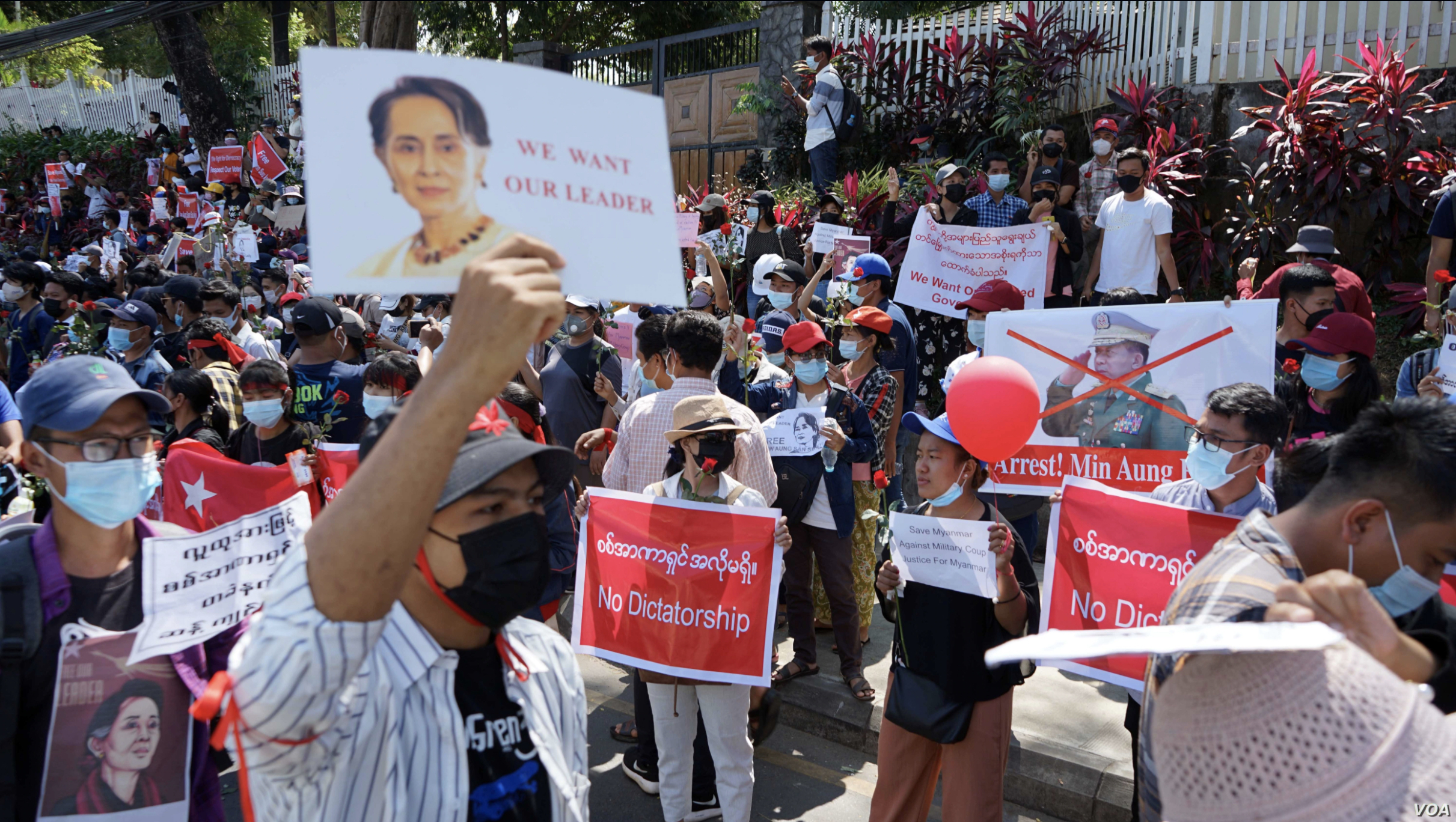 Demonstrators denounce the military coup in Myanmar. Image in the public domain.