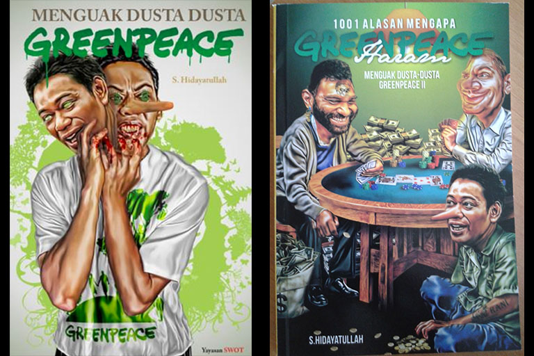 Samples of the campaign against Greenpeace in Indonesia.
