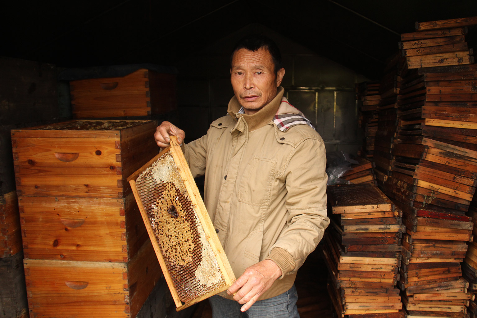 Beekeeper Xu in Chengdu who lost his hives in the pandemic. Xu has since received support from the China Green Development Society Hive Fund. Image credit: CBCGDF