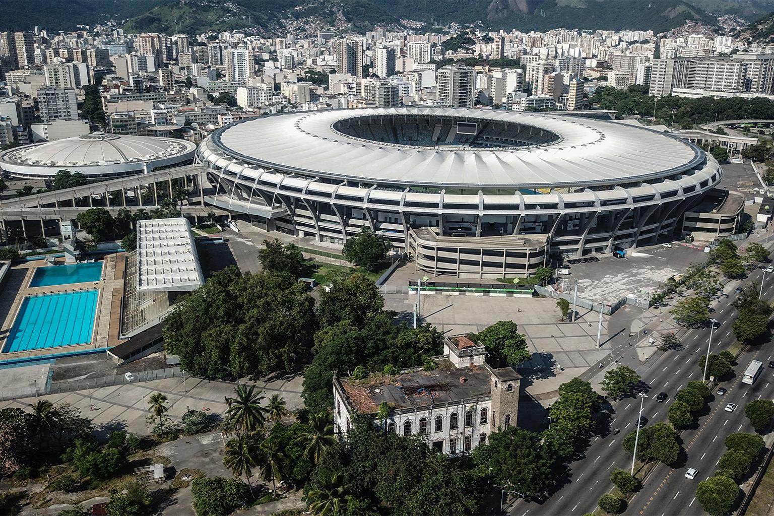 Aerial view of a building beside the Maracanã stadium.