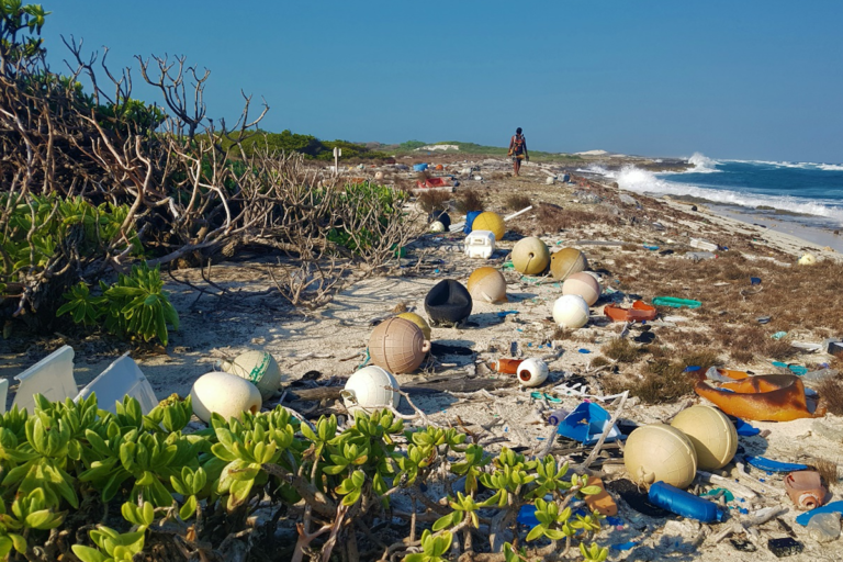 Fishing-related waste on Aldabra atoll, a UNESCO World Heritage site. Image Courtesy of April Burt.