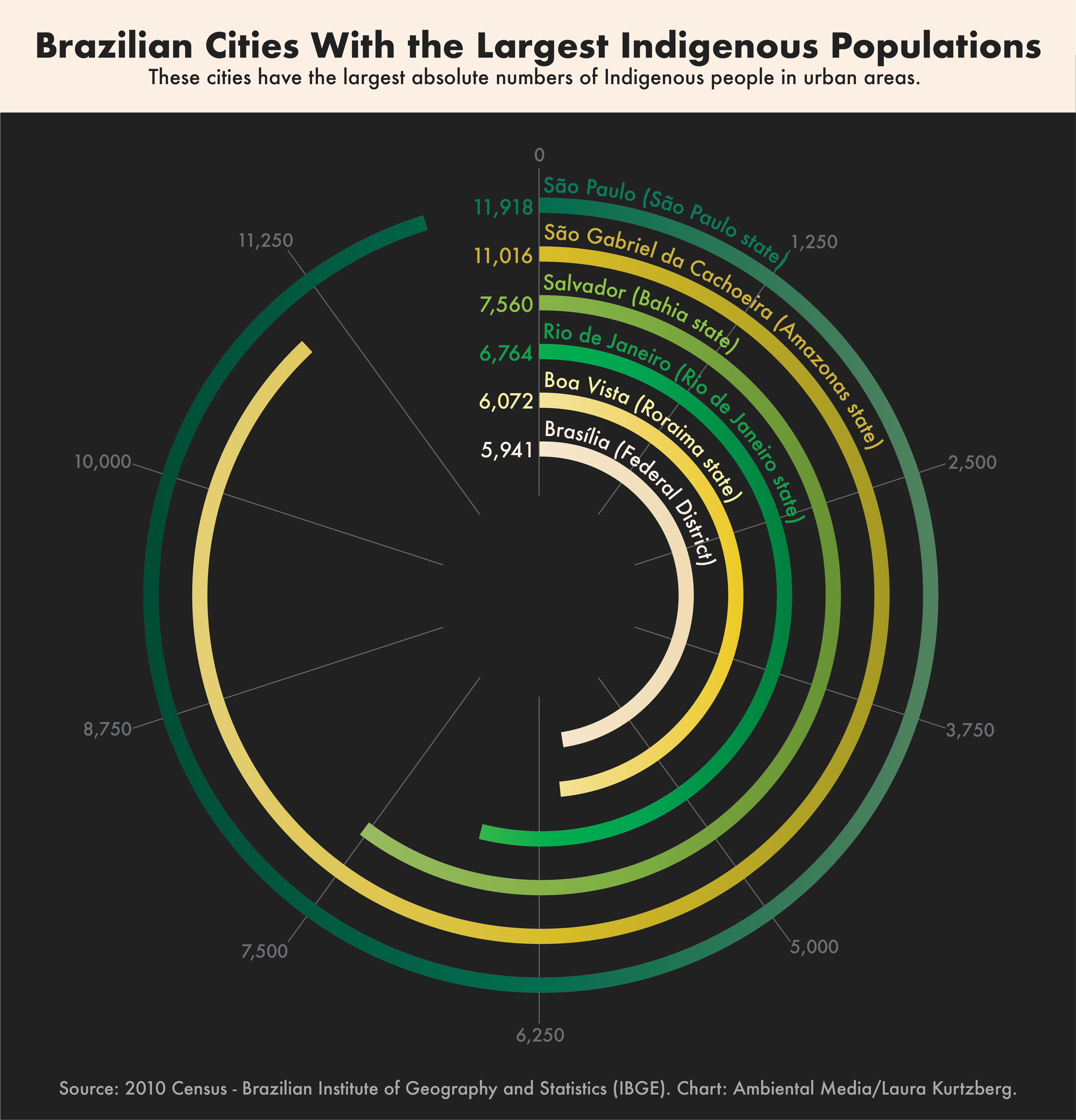 Graph of Indigenous populations in Brazil's cities.