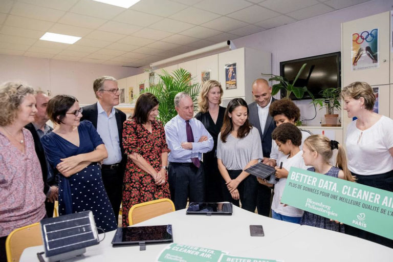 Unveiling a partnership between Bloomberg Philanthropies and the city of Paris to improve air quality. Photo Credit: Bloomberg Philanthropies
